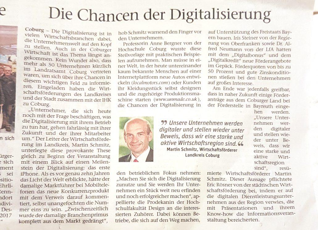 Digitalbonus Coburg, Ausschnitt der Neuen Presse vom 07.02.2017