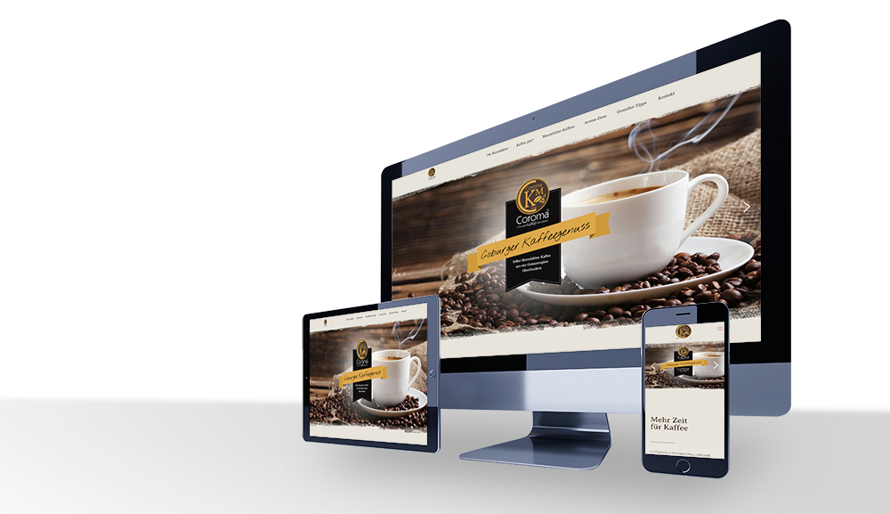 Coroma Kaffee Webseite